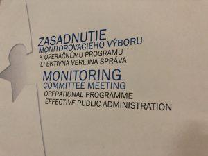 Nápis Zasadnutie Monitorovacieho výboru pre OP EVS
